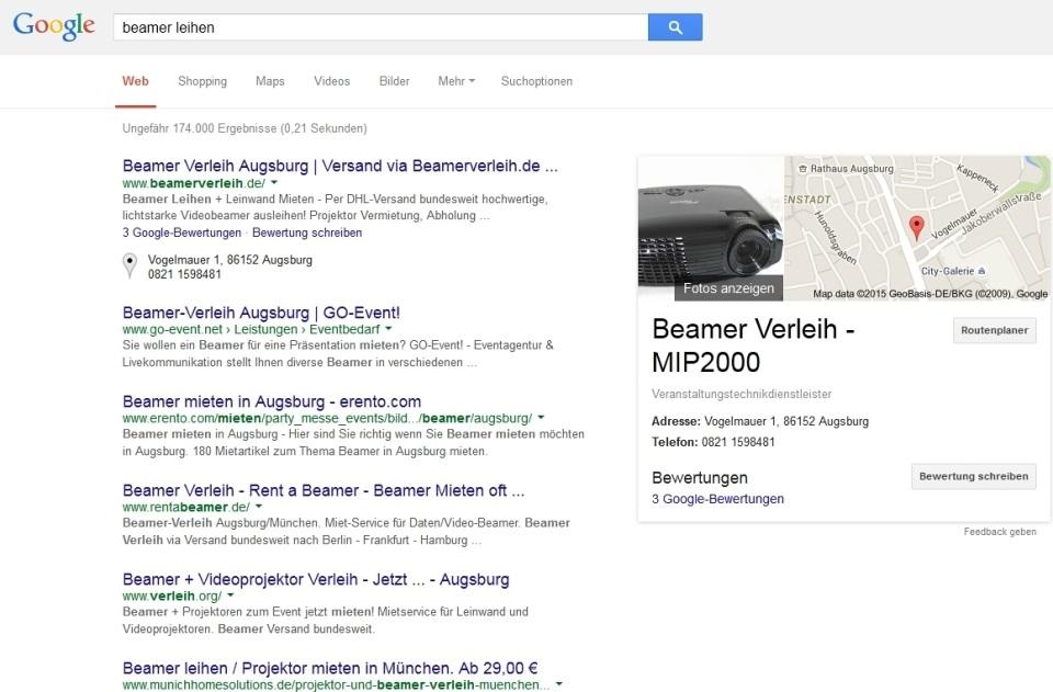 Google Suche - SERP