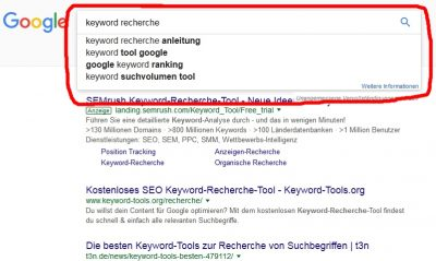 Keyword Recherche mit Google Suggest