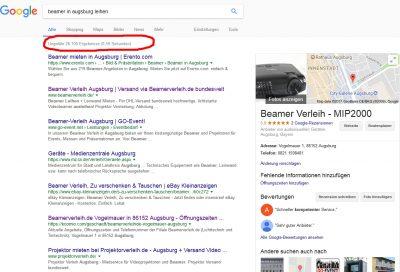 Keyword Recherche über die Google Suchergebnisse